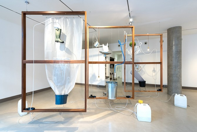 Moré Moré [Leaky]: The Falling Water Given #4-6, Installation view at White Rainbow, London, 2017 Wood Frames, found objects, water pump system.