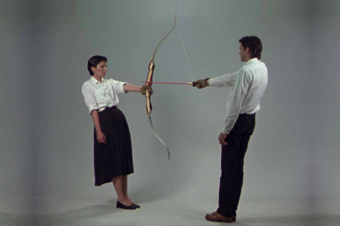 Rest Energy is a 1980 performance art piece created and performed by then-performance artist duo Marina Abramović and Ulay and recorded in Amsterdam. Courtesy the Pomeranz Collection an copyright the artists.